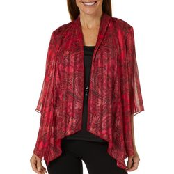 Sara Michelle Womens Paisley Print Duet Necklace Top