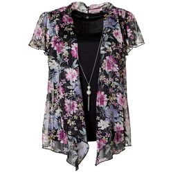 Sara Michelle Womens Floral Short Sleeve 3-pc. Top