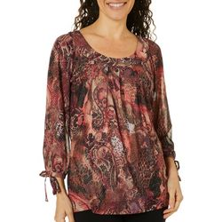 Sara Michelle Womens Paisley Glitter Tie Sleeve Top