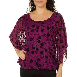 Sara Michelle Womens Floral Mesh Poncho Top