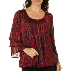 Sara Michelle Womens Scroll Print Tiered Sleeve Top