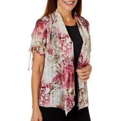 Sara Michelle Womens Animal Print Ruched Sleeve Duet Top