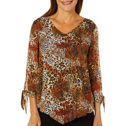 Sara Michelle Womens Leopard Tie Sleeve Poncho Top
