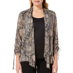 Sara Michelle Womens Paisley Ruched Sleeve Duet Top