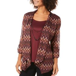 Sara Michelle Womens Necklace & Chevron Duet Top