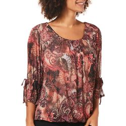 Sara Michelle Womens Embellished Mixed Paisley Top