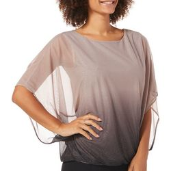 Sara Michelle Womens Ombre Glitter Short Sleeve Poncho Top