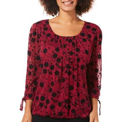 Sara Michelle Womens Floral Vine Tie Sleeve Top