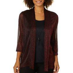 Sara Michelle Womens Necklace & Glitzy Lurex Duet Top