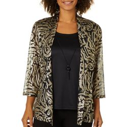 Sara Michelle Womens Necklace & Printed Duet Top