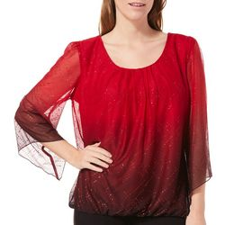 Sara Michelle Womens Ombre Glitter Banded Top