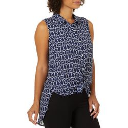 Sara Michelle Womens Button Down Tie Front High-Low Tank Top