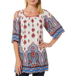 Sara Michelle Womens Raychall Border Print Cold Shoulder Top