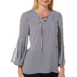 Sara Michelle Womens Striped Lace-Up Neck Bell Sleeve Top