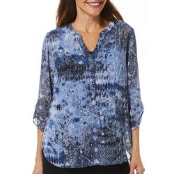 Sara Michelle Womens Abstract Print Tunic Top