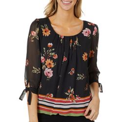 Sara Michelle Womens Floral Stripe Print Tie Sleeve Top