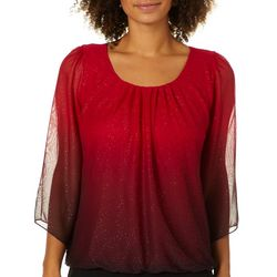 Sara Michelle Womens Banded Ombre Glitter Top