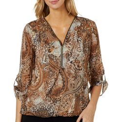 Sara Michelle Womens Mixed Paisley Roll Tab Sleeve Top