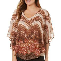 Sara Michelle Womens Dotted Floral Poncho Top