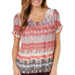 Sara Michelle Womens Bar Neck Ikat Print Top