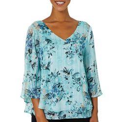 Sara Michelle Womens Floral Striped Lurex Top