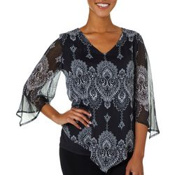 Sara Michelle Womens Damask Print Lurex Top