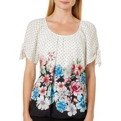 Sara Michelle Womens Floral Border Print Tie Sleeve Top