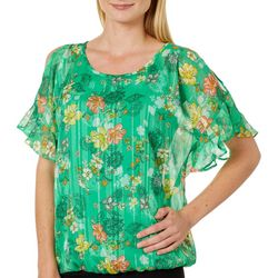 Sara Michelle Womens Floral Print Cold Shoulder Top