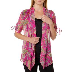 Sara Michelle Womens Paisley Ruched Short Sleeve Duet Top