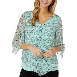 Sara Michelle Womens Dotted Print Poncho Top