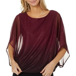 Sara Michelle Womens Ombre Glitter Embellished Poncho Top