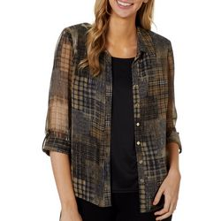 Sara Michelle Womens Plaid Print Duet Roll Tab Top