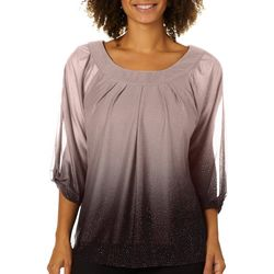 Sara Michelle Womens Pleated Ombre Glitter Ruched Sleeve Top