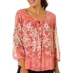 Sara Michelle Womens Floral Print Round Neck Top