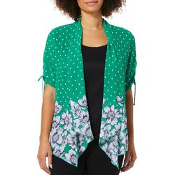Sara Michelle Womens Floral Dot Sheer Duet Top
