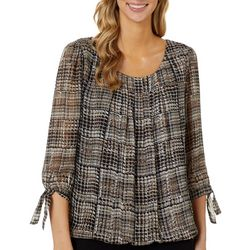 Sara Michelle Womens Graphic Houndstooth Print Top