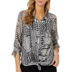 Sara Michelle Womens Patchwork Print Tie Front Top
