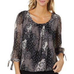 Sara Michelle Womens Patchwork Print Tie Sleeve Top