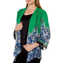 Sara Michelle Womens Damask Stripe Print Duet Top