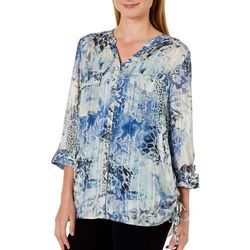 Sara Michelle Womens Multi Print Rouched Side Top