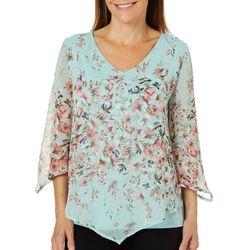 Sara Michelle Womens Floral Poncho Pullover Top
