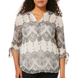 Sara Michelle Womens Damask Ruched Sleeve Top