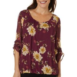 Sara Michelle Womens Floral Print Ruffle Sleeve Top