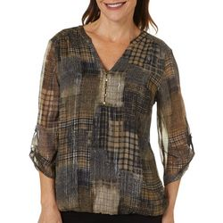 Sara Michelle Womens Mixed Plaid Split Neck Top