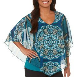 Sara Michelle Womens Boho Medallion Poncho Top