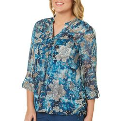 Sara Michelle Womens Floral Tie Dye Shimmer Top