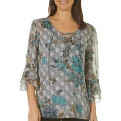 Sara Michelle Womens Checkered Floral Lace-Up Top