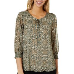 Sara Michelle Womens Mixed Foil Print Smocked Sleeve Top