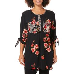Figueroa and Flower Womens Leafy Floral Tunic Top