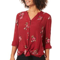 Figueroa and Flower Womens Embroidered Rose High-Low Top